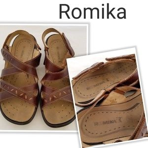 Romika Brown Leather Adjustable Wedge Heel Sandals